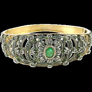 Antique Emerald 18k Gold Silver Bangle Bracelet—Continental Marks