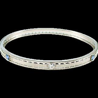 Art Deco Platinum Sapphire Diamond Bangle Bracelet