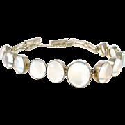 Vintage Luminous Moonstone Silver Bracelet