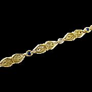 Art Nouveau Sapphire Diamond 14k Gold Platinum Fancy Link Bracelet