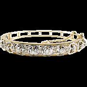 Antique Edwardian Diamond Platinum Gold Bangle Bracelet