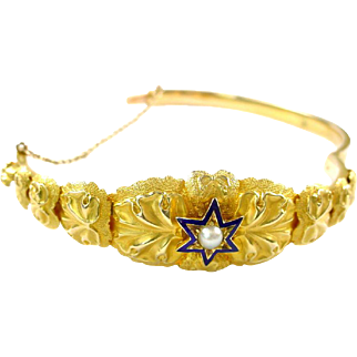 Antique Enamel Pearl Gold Star Bangle Bracelet