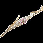 Art Deco Ruby Diamond Platinum Topped Gold Bracelet