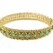 Vintage Persian Turquoise 18k Yellow Gold Bangle -- Cherney