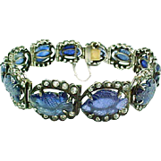 Art Deco Carved Blue Sapphire Diamond Bracelet--Circa 1925