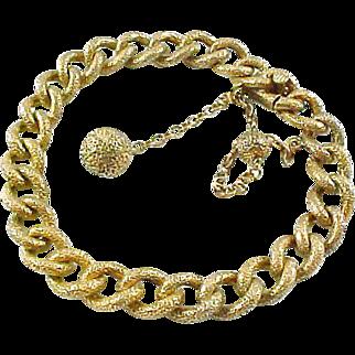 Antique Engraved Curb Link Charm 14kt Gold Bracelet