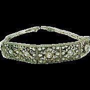 Antique Edwardian Rose Cut Diamond Gold Silver  Bracelet - Red Tag Sale Item