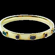 Amethyst Blue Topaz 14k Gold Gemstone Bangle Bracelet