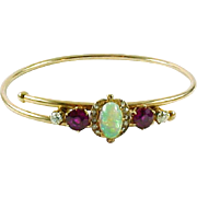 Antique Opal Diamond Bypass 14k Rose Gold Bangle Bracelet