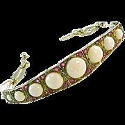 Edwardian Opal Ruby Strap Line Bracelet--English