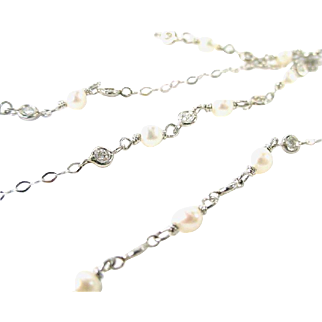 Platinum Diamond Pearl Longchain Chain Necklace