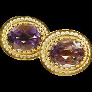 Amethyst Seed Pearl 14kt Yellow Gold Earrings