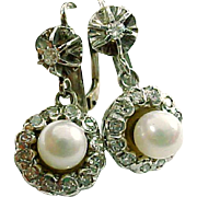 Antique Diamond Cluster Cultured Pearl 14k White Gold Drop Earrings