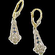Art Deco Platinum Diamond 18ct. Gold Earrings