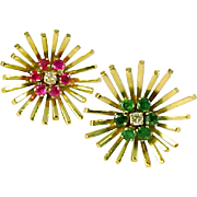 Stunning Emerald Ruby Daimond 18k Gold Earrings