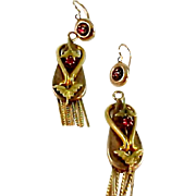 Victorian Ruby Day Nite English Gold Tassel Pendant Earrings