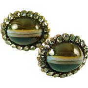 Antique Banded Agate Diamond Cluster Ear Stud Earrings