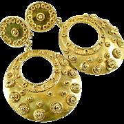 Etruscan Style Wirework 14k Gold Hoop Earrings
