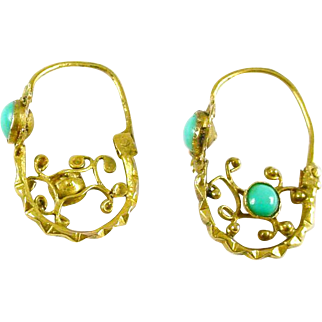 Antique Turquoise Poissarde 18k Gold Hoop Earrings