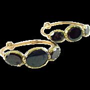 Antique Georgian Flat Garnet 14k Rose Gold Hoop Earrings
