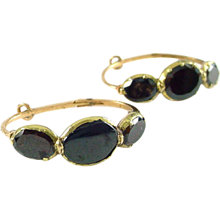 Antique Georgian Flat Garnet 14k Rose Gold Hoop Earrings