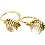 French Clear Strasse Paste 18k Gold Earrings