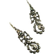 Georgian Diamond Sterling Silver Pendeloque Earrings