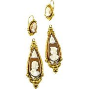 French Cameo Day Night 18k Gold Earrings