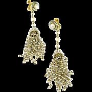 Edwardian Gold Seed Pearl Tassel Earpendants Earrings