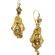 Antique Victorian Day Night 14k Gold Earrings