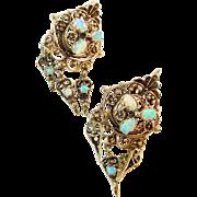 Vintage Opal 14k Gold Drop Earrings