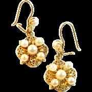 Vintage Cultured Pearl 14k Gold Drop Earrings