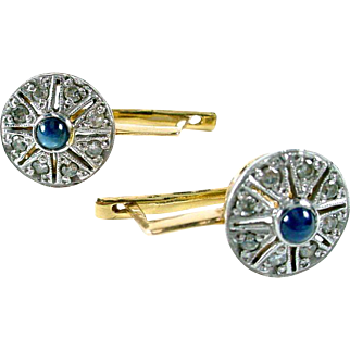 European Diamond Sapphire 14k Earrings