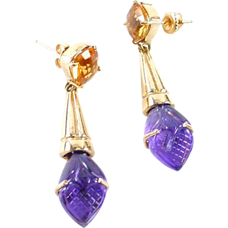 Carved Amethyst Citrine 14k Gold Earrings Earpendants