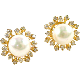 Pearl Diamond Halo 14k Gold Snowflake Earrings