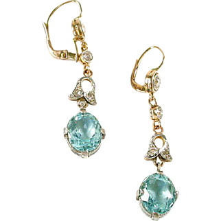 Edwardian Antique Aquamarine Diamond Platinum 18k Gold Ear Pendants Earrings