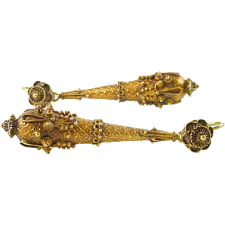 Exceptional Etruscan Granulation Gold Day and Night Pendant Earrings
