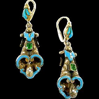 Antique Enamel 19th C 14k Gold Pendant Earrings
