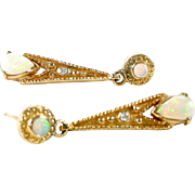 Opal Diamond 14k Gold Pendant Earrings