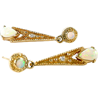 Opal Diamond 14k Gold Pendant Earrings
