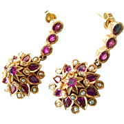 Vintage Moghul Ruby Seed Pearl Rose Gold Earrings Earpendants