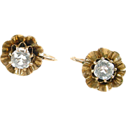 Antique Buttercup 14k Rose Gold Paste Earrings