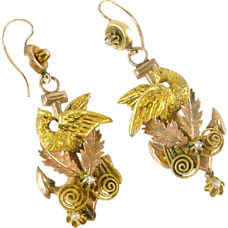 Victorian Bird Doves Bicolor Gold Seed Pearl Earpendants
