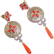 Vintage Coral Diamond Silver Topped 18k Gold Pendant Earrings
