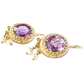 Vintage Amethyst Seed Pearl Halo Drop 14k Gold Earrings