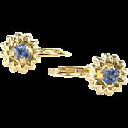vintage Sapphire Dormeuse Earrings--Italy