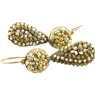 Antique Georgian Cannetille Pearl Day to Night Gold Earrings