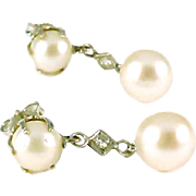 Cultured Pearl Diamond 14k White Gold Pendant Earrings