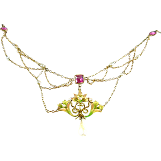 Art Nouveau Enamel Pearl 14k Gold Lavaliere Festoon Necklace