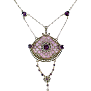 Art & Crafts Period Guilloche Enamel Amethyst Silver Lavaliere Pendant Necklace